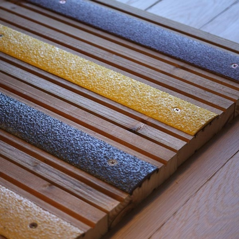 Fibreglass anti slip decking strips